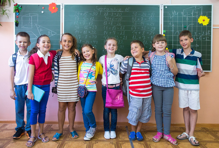 elementary school: portrait of a group of primary school children in a class at their desks Stock Photo