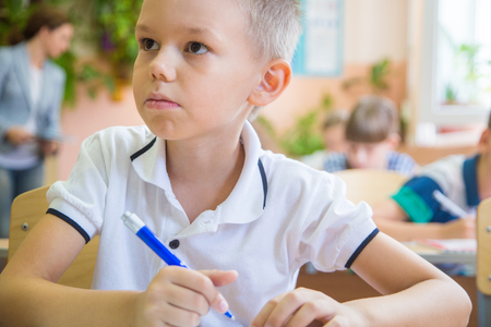 little schoolboy write lesson  in classroom