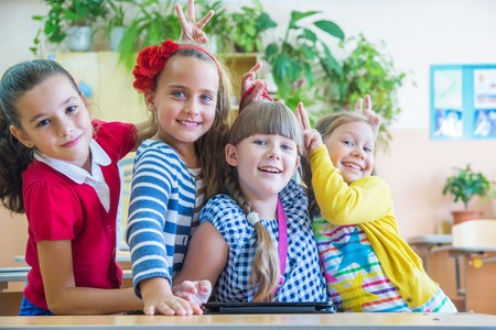 portrait of girls  from elementary school together Stock Photo