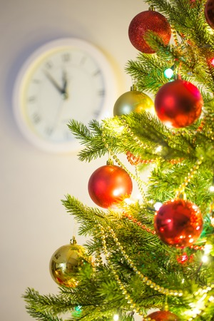 color photography:  Christmas tree with clock