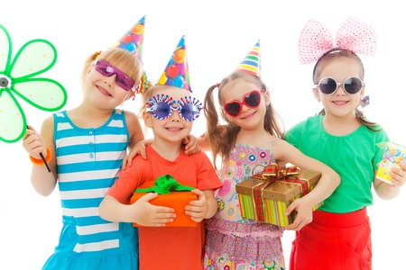 Portrait of group of children at birthday party photo