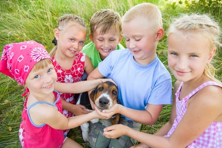 Six  cute children playing wiyh dog  in green grass at summertime photo