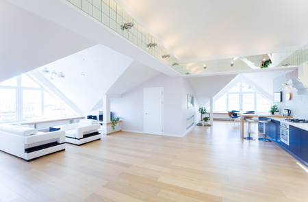 luxury house: modern interior light a large apartment in mansard