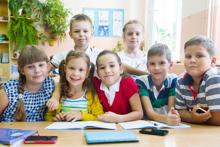 portrait of a group of primary school children in a class at their desks Stock Photo