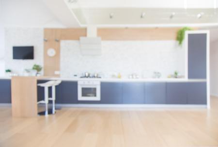 modern kitchen interior in big apartment. Defocus.