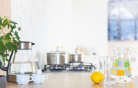 wooden floors: Modern kitchen at home with kitchenware Stock Photo