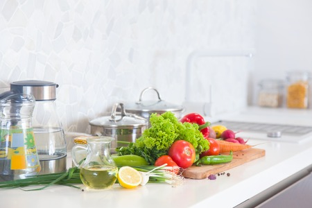 Modern kitchen at home with healthy food