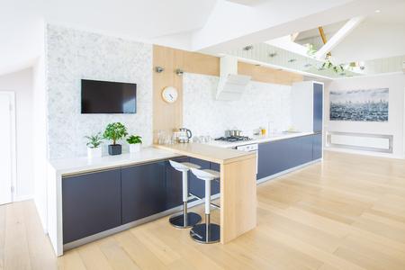 modern kitchen interior in big apartment