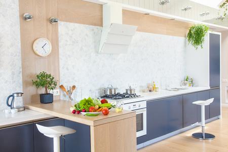 furniture design: modern kitchen interior in big apartment