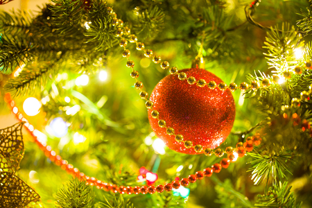 bough: beautifully decorated Christmas tree with bright balls Stock Photo