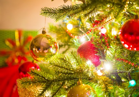 beautifully decorated Christmas tree with bright balls Stock Photo