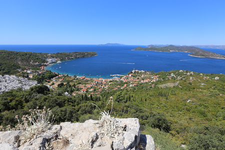 view of the beautiful bay at sea with sailing boats at anchorage