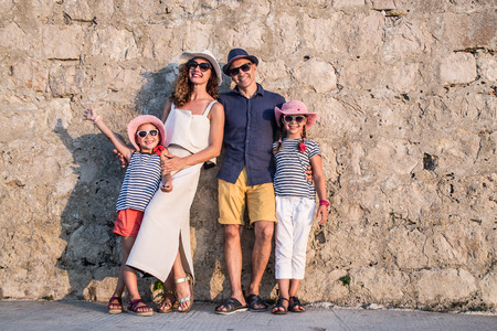 portrait of a family with kids in summertime Stock Photo