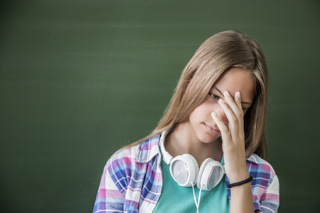 Potrair of girl teenager in sadness Stock Photo