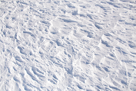snow ski slope with traces of skis. view from above. Nobody. ski resort. Stock Photo