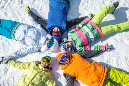 group of friends have a good time in winter resort Banco de Imagens