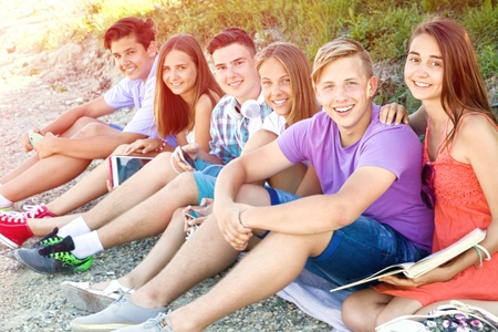 portrait of group of teenagers spending time together
