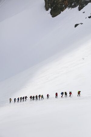 large group of mountaineers with backpacks goes along the snowy slope of the mountain