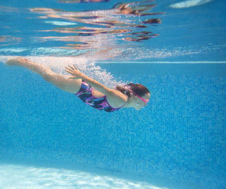 teens girl swimming in pool. under water photo, Imagens