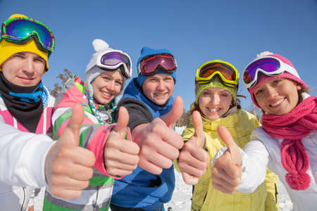 group of friends have a good time in winter resort Standard-Bild
