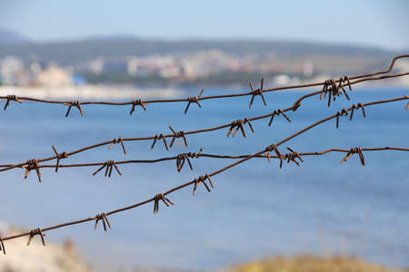 symbolic view of the barbed wire that covers the seashore. Ecology.