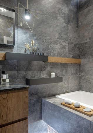 modern bathroom interior in black / gray colors Stok Fotoğraf