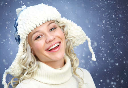 Winter portrait beautiful woman with blond hair