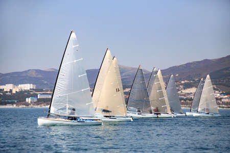 Regatta of sailing yachts on the sea on a windy day Banco de Imagens