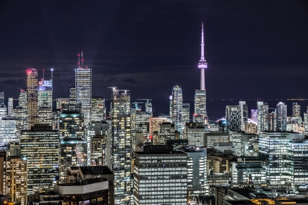 Full view of downtown Toronto at night with glamour lights photo