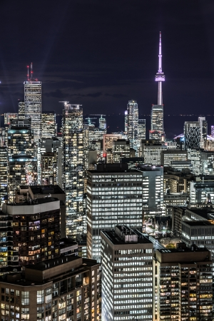 Full view of downtown Toronto at night with glamour lights Stock Photo