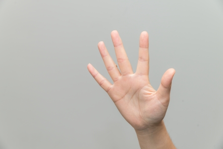grabbing at the back: Human hand with open palm
