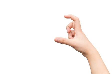 Human hand holding imaginary card with two fingers  Stock Photo
