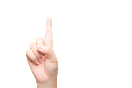 Human hand with one finger sticking up  photo