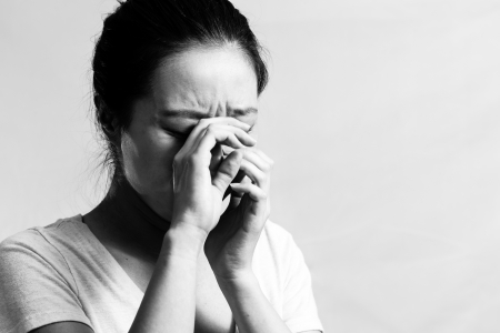 desperately: Portrait of pretty girl crying desperately, black and white style Stock Photo