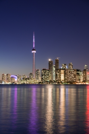 Night scene of downtown Toronto during early winter time photo