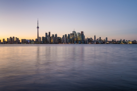 Backlit scene of downtown Toronto during early winter time photo