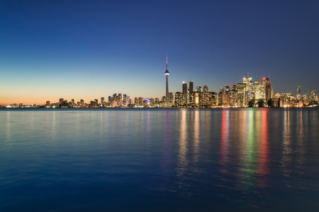 scape: Night scene of downtown Toronto during early winter time Stock Photo