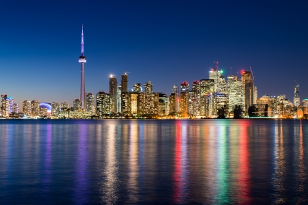 and scape: Night scene of downtown Toronto during early winter time Stock Photo