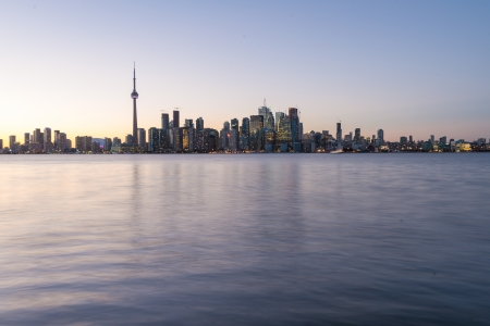 Backlit scene of downtown Toronto during early winter time