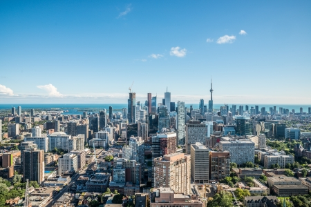 Scenic cityscape of downtown Toronto Ontario Canada during a sunny day photo