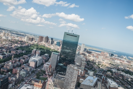 live work city: Cityscape view of downtown Boston and its surrounding urban Editorial