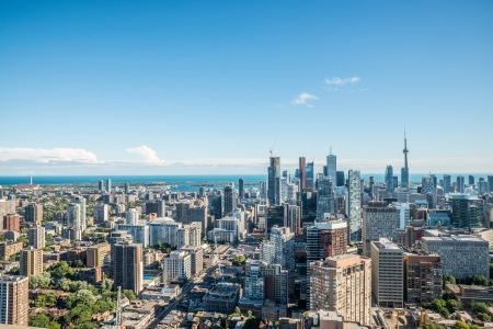 Scenic cityscape of downtown Toronto Ontario Canada during a sunny day Stock Photo
