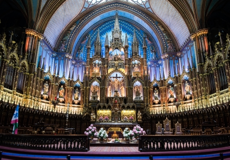 Montreal, Quebec Province, Canada - May 27, 2013: Interior of Notre-Dame Basilica, July 12, 2013.
