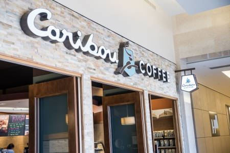 MINNEAPOLIS,MN - SEPTEMBER 26:Caribou Coffee store and logo in Mall of America, in Minneapolis, MN, on September 26, 2013.