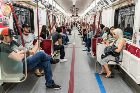 TORONTO, ONTARIO - SEPTEMBER 5: Interior of Toronto subway, in Toronto, ON, on September 5, 2013.