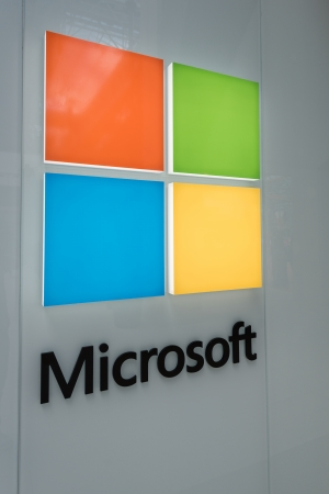 28: MINNEAPOLIS,MN - JULY 28: Large Microsoft Corporation logo in Mall of America, in Minneapolis, MN, on July 28, 2013.