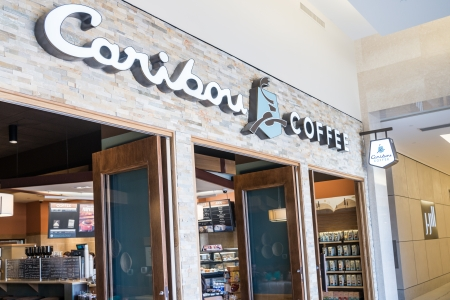 MINNEAPOLIS,MN - SEPTEMBER 26 Caribou Coffee store and logo in Mall of America, in Minneapolis, MN, on September 26, 2013