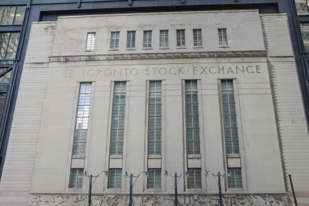 equities: TORONTO, ON - OCTOBER 24: Toronto Stock Exchange building in Toronto Canada on October 24, 2013 Editorial