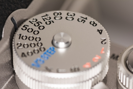 old items: Shutter speed dial on a old style single lens reflex SLR camera