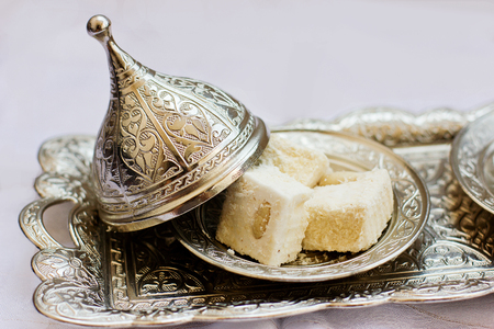 Traditional turkish lokum in the silver tray